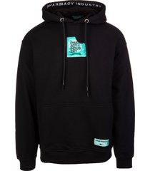 pharmacy industry man black hoodie with condom logo patch