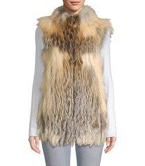 vertical full skin cross fox fur vest
