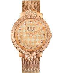 versus versace women's rose goldtone stainless steel & swarovski crystal mesh bracelet watch