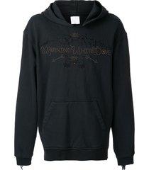 alchemist embroidered stud hoodie - black
