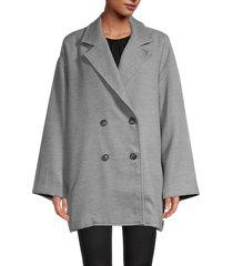 free people women's hannah slouchy blazer - washed black - size xl