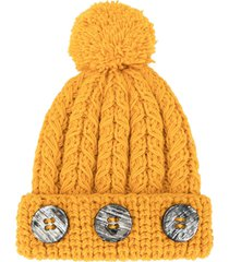 0711 pompom knit beanie - yellow