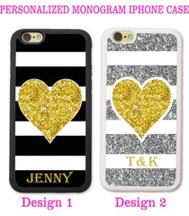 black silver stripes gold heart personalized monogram case for iphone x 8 7 6 se