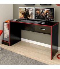mesa gamer stone ideal para 2 monitores preto/vermelho - pnr móveis