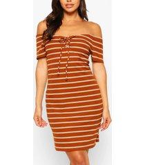 striped bardot mini dress, rust