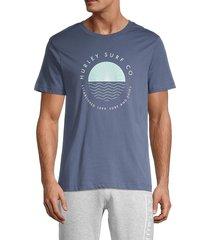 hurley men's coastal dunes logo t-shirt - dark blue - size s