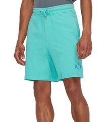 ax armani exchange men's faded double logo french terry shorts