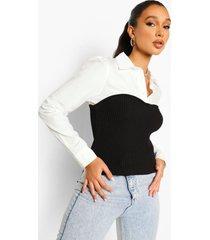 2-in-1 blouse met gebreide bandeau top, black