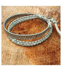 amazonite wrap bracelet, 'blue contrasts' (thailand)
