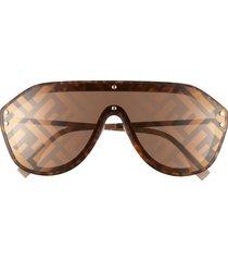 women's fendi 147mm logo lens shield sunglasses - havana/ beige/ gold mirror