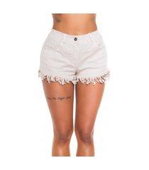 sexy denim-spijkerstof shorts met geribde naad beige