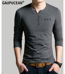 camiseta manga larga cuello-v casual gaupucean para hombre-gris