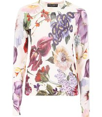 dolce & gabbana floral-printed knit top