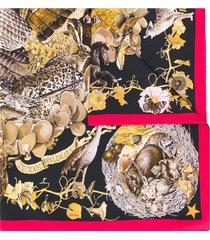 hermès 1990s pre-owned faune et flore du texas scarf - brown