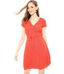 vestido vero moda annika rojo - calce holgado