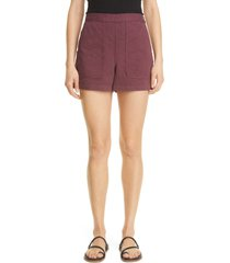 women's rachel comey handy seamed cotton shorts, size 12 - burgundy
