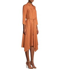 rizzo polka-dot belted silk midi dress