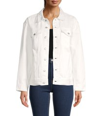 madewell women's the oversized trucker denim jacket - tile white - size xs