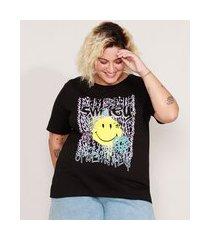 camiseta de algodão plus size smiley grafite manga curta decote redondo preta