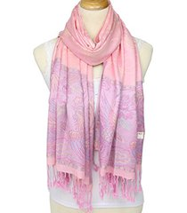 donna sciarpa invernale scialle in jacquard di cotone con frange di stile nuovo retro alla moda