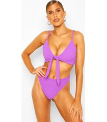 mix & match crinkle tie front top, purple