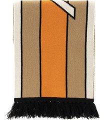 burberry logo cashmere jacquart scarf in warm camel