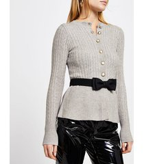 river island womens grey cable knit peplum tie bow cardigan