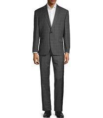 standard-fit windowpane-print wool suit