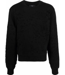 amiri distressed-effect cotton sweatshirt - black