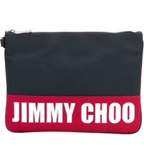jimmy choo bolsa clutch bicolor com logo estampado - azul