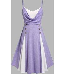 plus size draped two tone godet cami dress