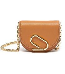 alix' metal paperclip detail leather mini crossbody bag