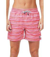 men's tom & teddy stripe swim trunks, size small - red