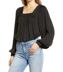 petite women's halogen washed satin long sleeve top, size small p - black