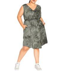 city chic tie dye sleeveless cotton dress, size xx-small in khaki tie dye at nordstrom