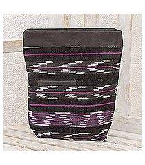cotton blend travel bag, 'chevron serenity' (guatemala)
