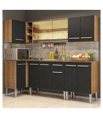 cozinha completa de canto madesa emilly play com balcão e armário vidro reflex rustic/preto rustic/preto