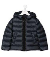 moncler kids jaqueta matelassê com zíper e capuz - azul