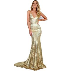 women's long mermaid gold sequins prom dresses gown sexy,formal evening dress