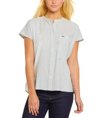 lacoste pinstriped basic woven shirt