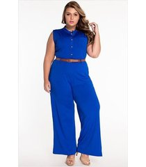 mono informal sin mangas con cuello redondo y cintura alta para mujer con cinturón azul