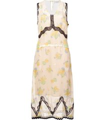 coach forest floral print sleeveless dress - yellow
