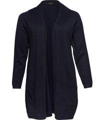 cardigan plus knit long sleeve stickad tröja cardigan blå zizzi