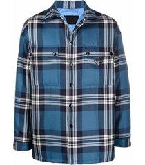 prada triangle plaque plaid shirt