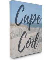 "stupell industries cape cod beach typography modern canvas wall art, 16"" x 20"""