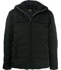 fendi zucca mesh hooded puffer jacket - black