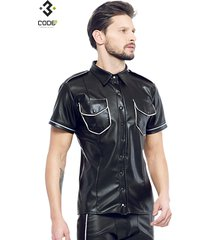 code8 by xxx collection zwart leren heren shirt met zilver biezen