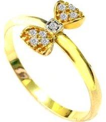 anel prata mil laço de ouro com zircônia ouro