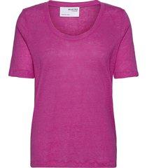 slflinen ss u-neck tee t-shirts & tops short-sleeved rosa selected femme
