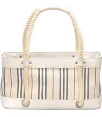 burberry pre-owned vertically-striped tote bag - white